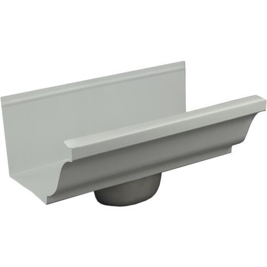 Spectra Pro Select 4 In. White Aluminum Gutter End with Oval Drop