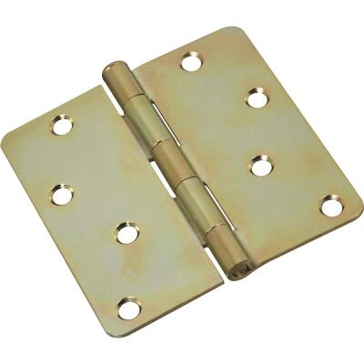 National 4 In. x 1/4 In. Radius Satin Brass Tone Door Hinge