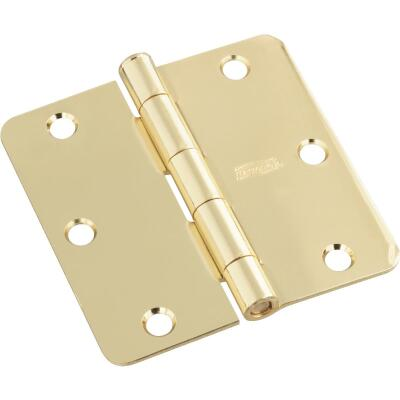 National 3 In. Polished Brass 1/4 In. Radius Door Hinge