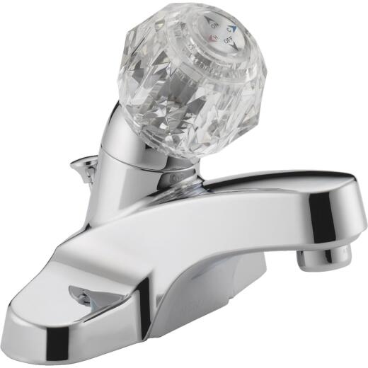 Peerless Chrome 1-Handle Knob 4 In. Centerset Bathroom Faucet with Pop-Up